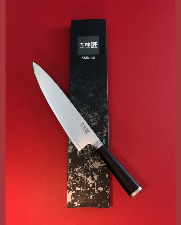 Shikisai Miyako Damascus Japanese Chef Knife 240mm, With Ogg Sharpening edge