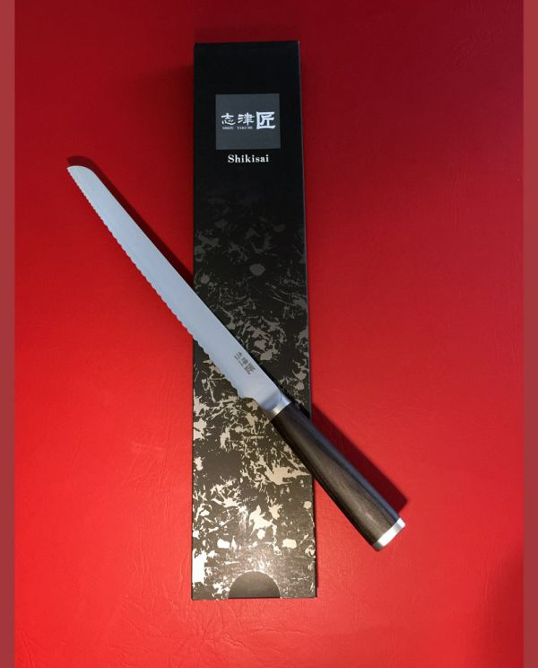 Shikisai Miyako Damascus Japanese Bread knife 230mm traditional damascus blade double serration