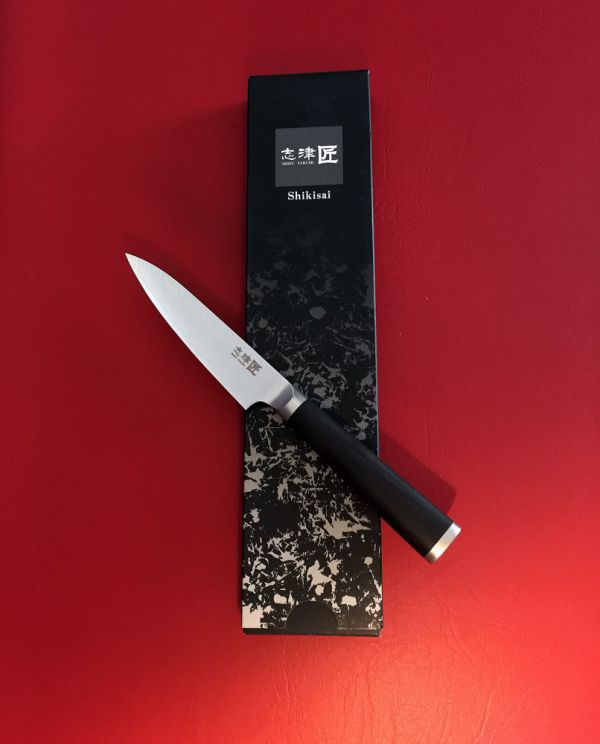Shikisai Miyako Damascus Japanese Utility knife traditional damascus blade 110mm, With Ogg Sharpening edge