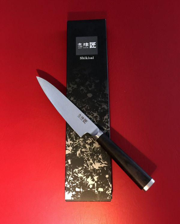 Shikisai Miyako Damascus Japanese Utility knife traditional damascus blade 130mm, With Ogg Sharpening edge