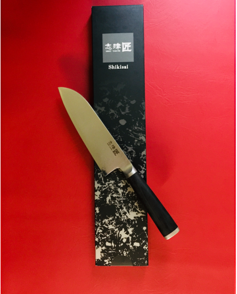 Shikisai Miyako Damascus Japanese Santoku knife traditional damascus blade 165mm, With Ogg Sharpening edge