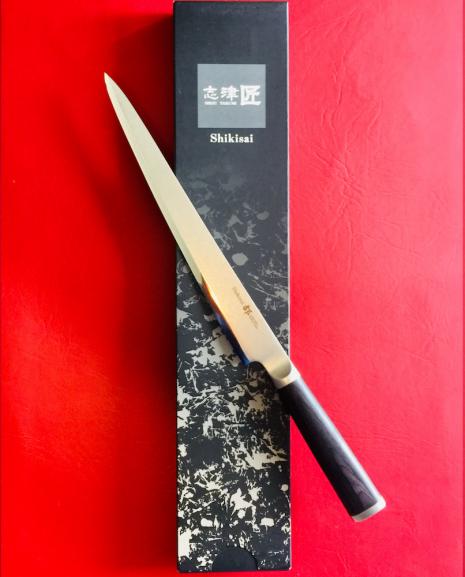 Shikisai Miyako Japanese Damascus blade 240mm Carving/ Filleting Knife