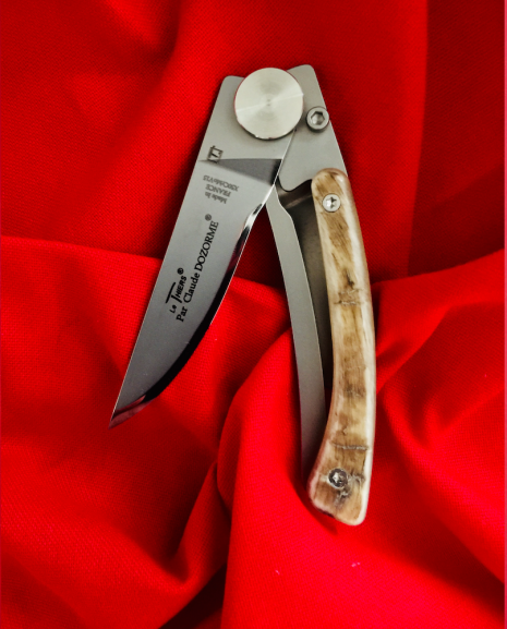 Claude Dozorme Thiers Liner Lock Knife, 9cm blade, Ram Horn Handle