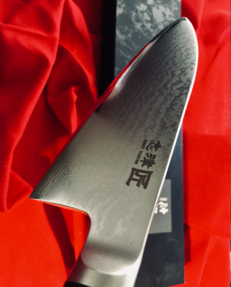 Shikisai Miyako Damascus Japanese Deba knife traditional damascus blade 165mm, With Ogg Sharpening edge