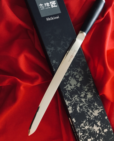 Shikisai Miyako Japanese Damascus blade,Modified 230mm Filleting/Carving Knife,With Ogg Sharpening edge