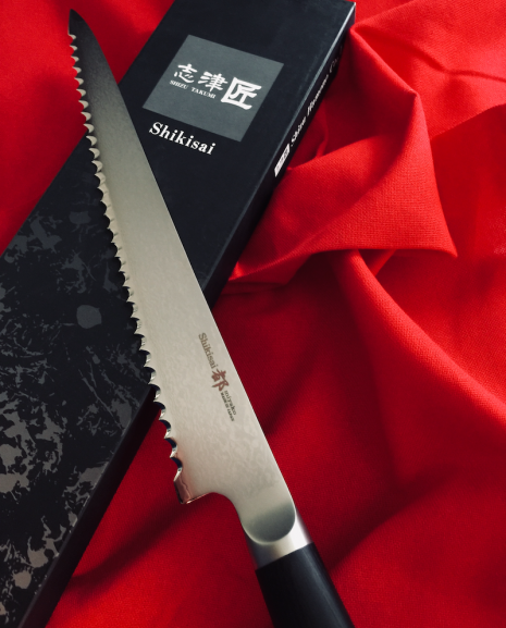 Shikisai Miyako Japanese Damascus blade 240mm Bread Knife