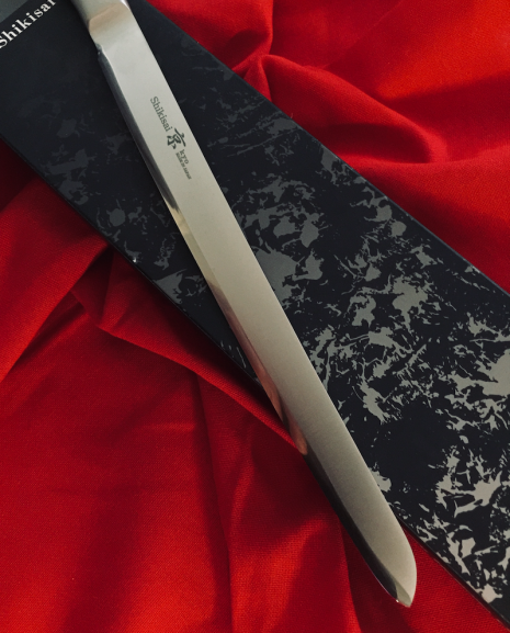Shikisai Kyo Japanese Damascus blade,Modified 230mm Filleting/Carving Knife, With Ogg Sharpening edge