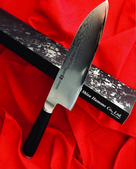 Shikisai Miyako Damascus Japanese Santoku knife traditional damascus blade 180mm, With Ogg Sharpening edge