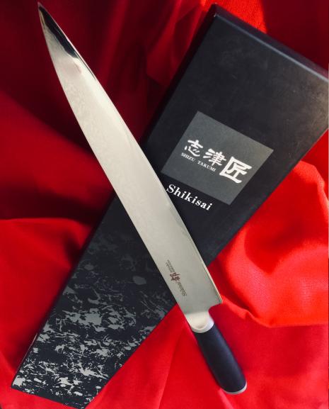 Shikisai Miyako Japanese Yanagiba Sushi Damascus blade,240mm Carving/ Filleting Knife,With Ogg Sharpening edge